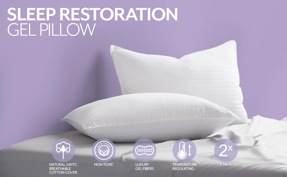 Best Hotel Quality Comfortable /& Plush Cooling Gel Fiber Filled Pillow Dust Mite Resistant Sleep Restoration Gel Pillow - 2 Pack King