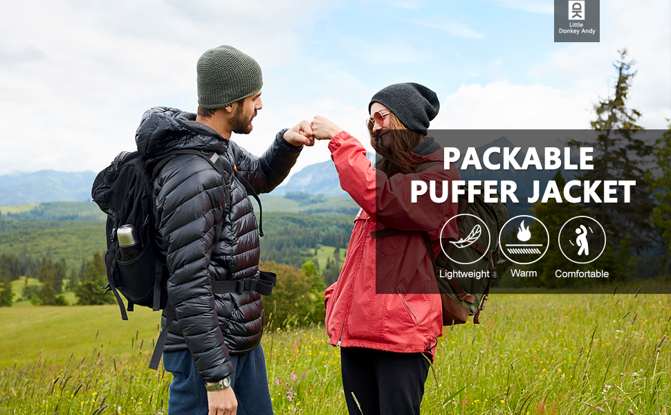 lightweight warm puffer jacket with hood
