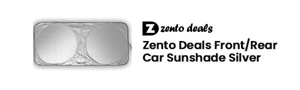 Zento Deals Front//Rear Car Sunshade Silver Front Black Rear Auto Pop Up Style Foldable To 58 X 27 Premium Quality Windshield Sun Block Protector