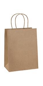 """BagDream 8X4.25X10.5"""" Brown Gift Bags 100PCS"""