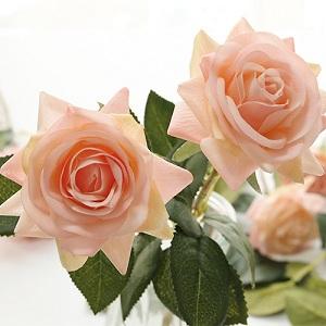 Cream Solid Centre Wedding Home Display 7 Stem Artificial Rose Bud Bundle