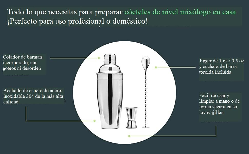 Cresimo Kit Cocteleria Profesional Martini - Juego De 3 Piezas Con Coctelera De 710 ml Con Colador Integrado Mezclador/Agitador Y Libro De Recetas – ...
