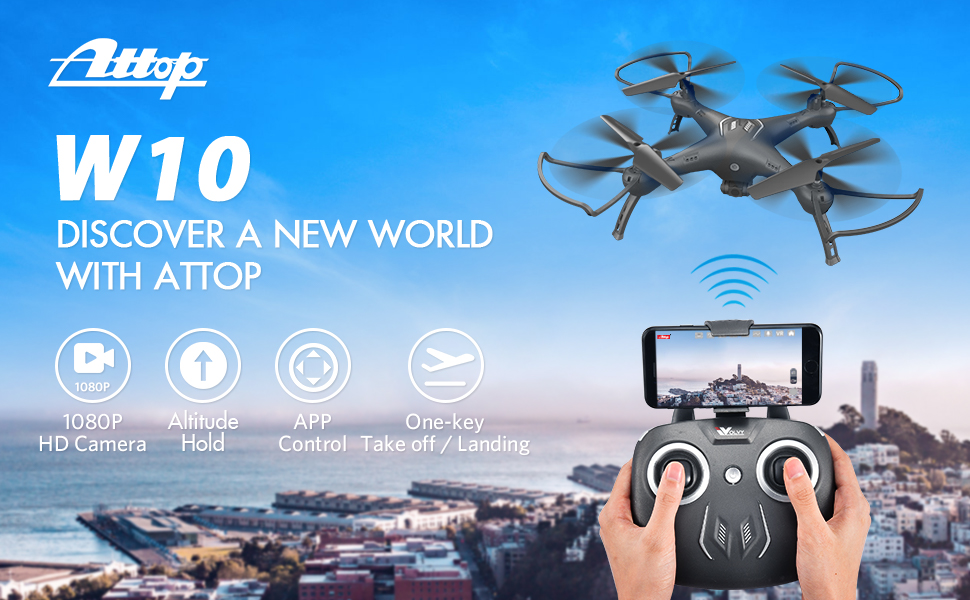 W10 Drone with Camera 1080P HD FPV Live Video Wide-Angle WiFi RC Quadcopte with Toss to Launch