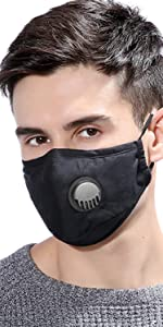 cotton face mask with valve and filter