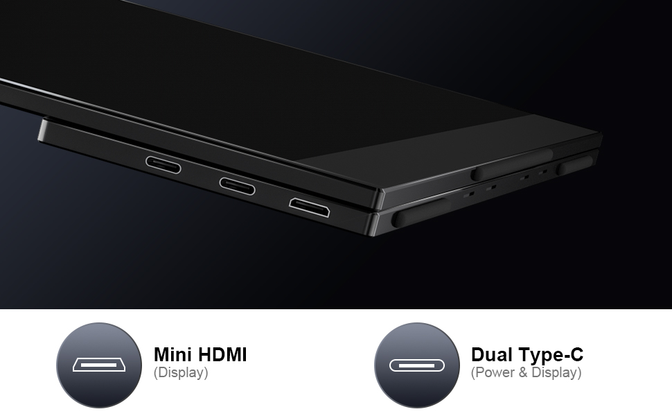 Dual Type C ports and mini HDMI port for Wide Connection