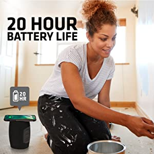 long lasting battery life rechargeable battery hours of play time bluetooth speaker