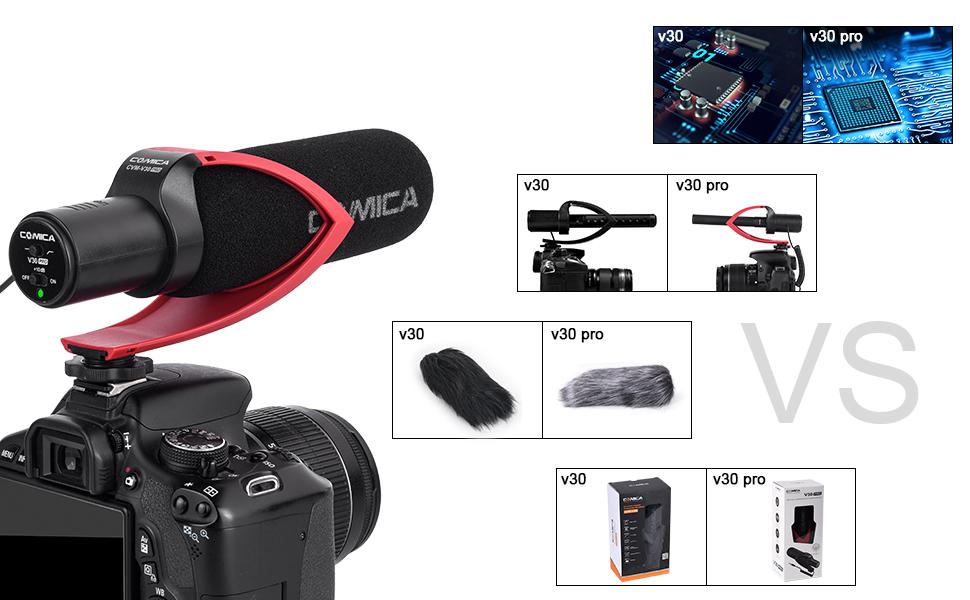 Comica CVM-V30 Lite Video Micr/ófono Condensador supercardioide Micr/ófono de Escopeta en la c/ámara para Canon Nikon Sony C/ámara Panasonic//DSLR//iPhone Samsung Huawei Negro