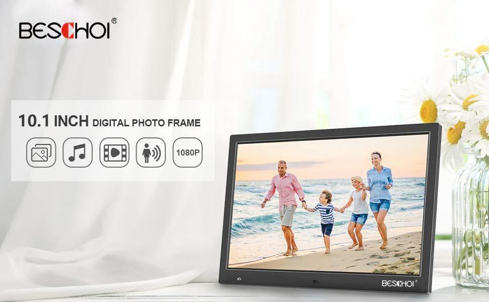 Beschoi Marco Fotos Digital HD 10 Pulgadas Pantalla LCD con Sensor Movimiento y Control Remoto Soporte Reproductor Vídeo MP3 MP4 Reloj Electrónico ...