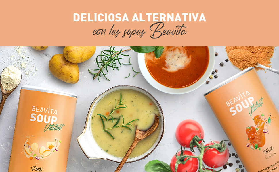 Sopa de patata para adelgazar fácilmente – 500g (10 porciones) – Sopa sustitutiva con solo 205 calorías – Ideal para perder peso - Con vitaminas, ...