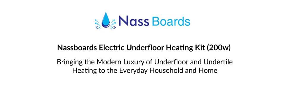 Nassboards Premium Pro Electric Underfloor Heating Mat Kit 200w Per m2 Featuring Intelligent Digital Control Thermostat