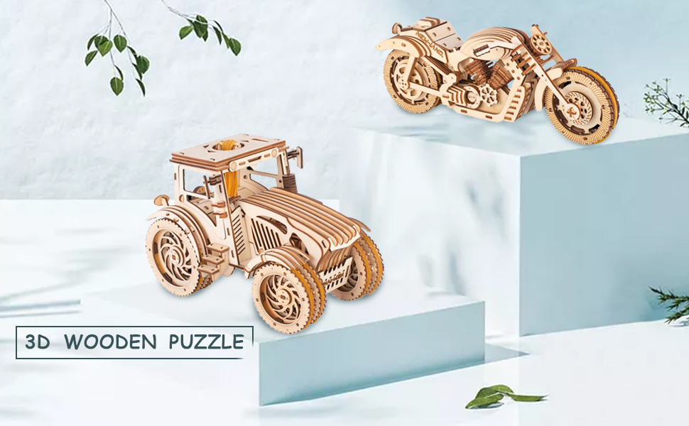 TOYROOM  3D Wooden Puzzle  Tractor amp;Motorbike