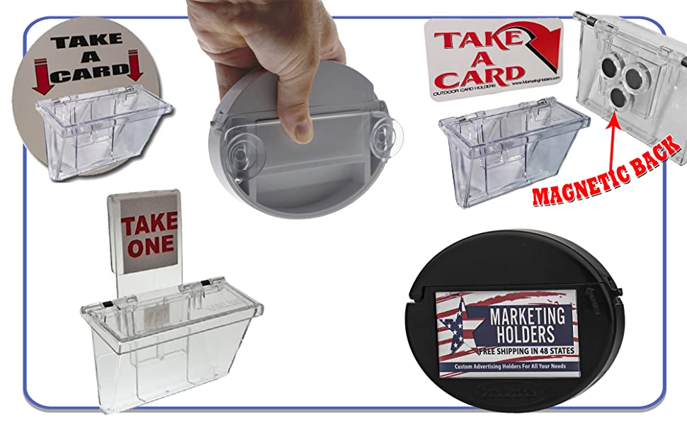 Marketing Holders Vehicle Business Card Holders Stick On, Magnetic or Window Hook