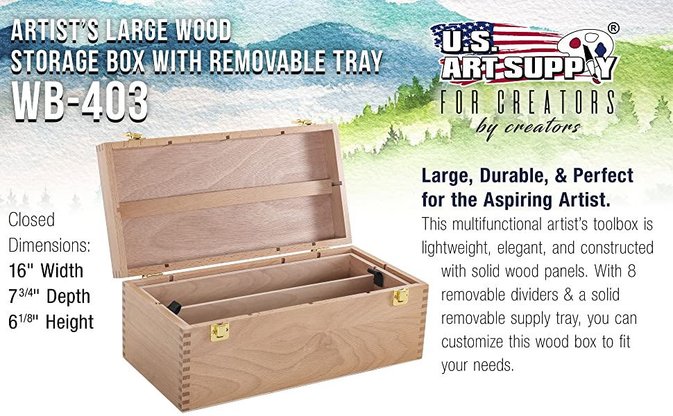 U.S. Art Supply Artist Wood Tool Storage Box Removable Tray