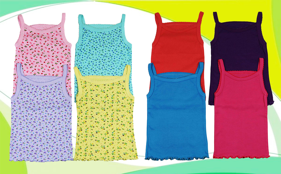 ToBeInStyle Girls 4 Pack Ruffle Hem Spaghetti Strap Tank Tops