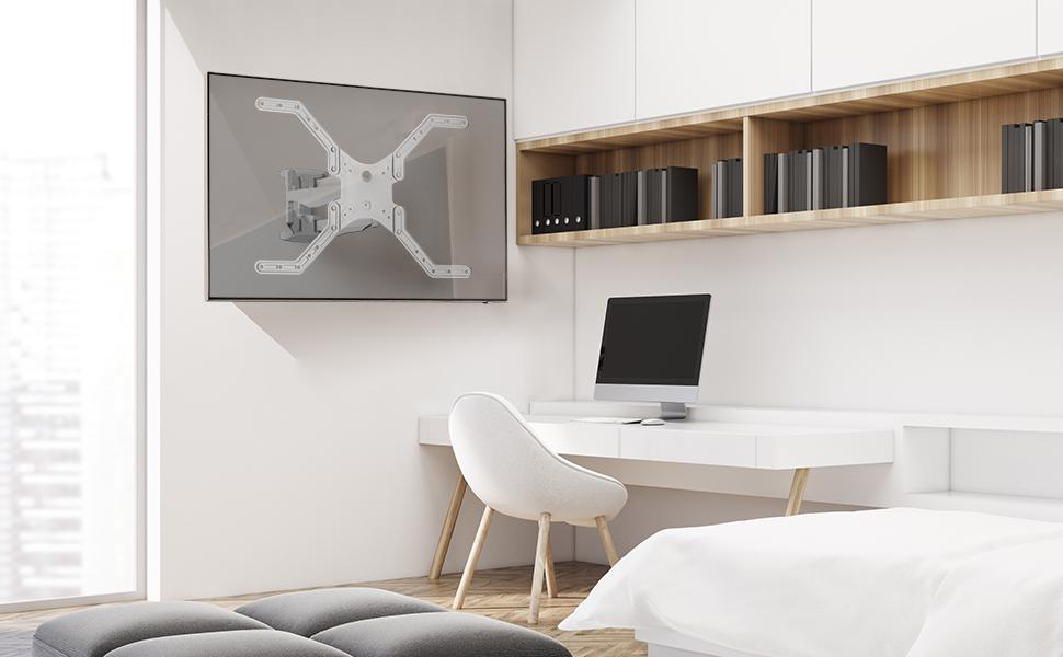 Onkron M5L WHT Support TV Mural pour des téléviseurs LCD OLED Plasma de 32 à 60 Pouces Blanc
