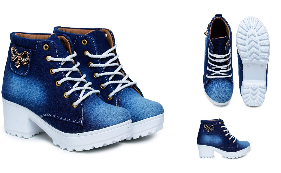 Shoes, Women, Girls, Stylish Casual Latest Design High Heel Boot High Ankle Sneaker