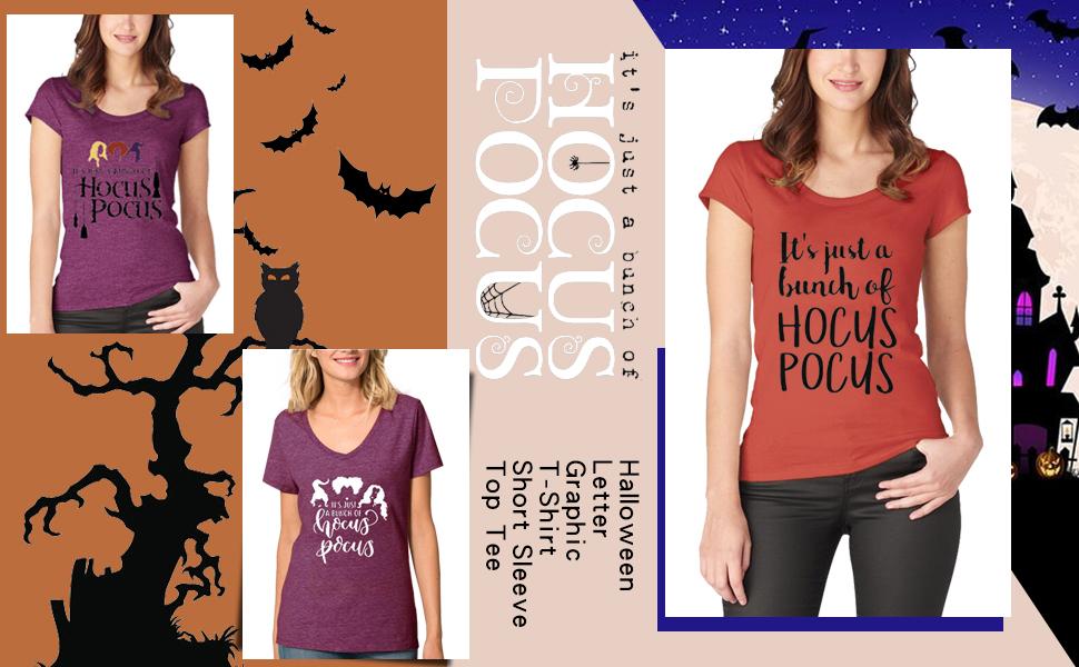 Women It Just A Bunch of Hocus Pocus Halloween Letter Graphic T-Shirt Short Sleeve Top Tee