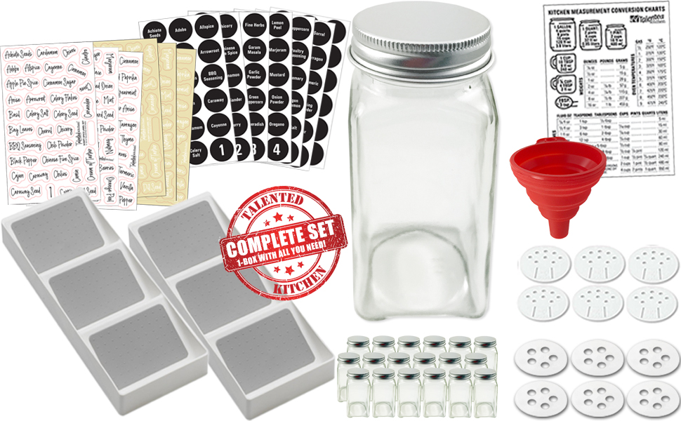 18 FRENCH SQUARE GLASS SPICE JAR & 2 DRAWER TRAY RACKS SET sold exclusively by TALENTED KITCHEN