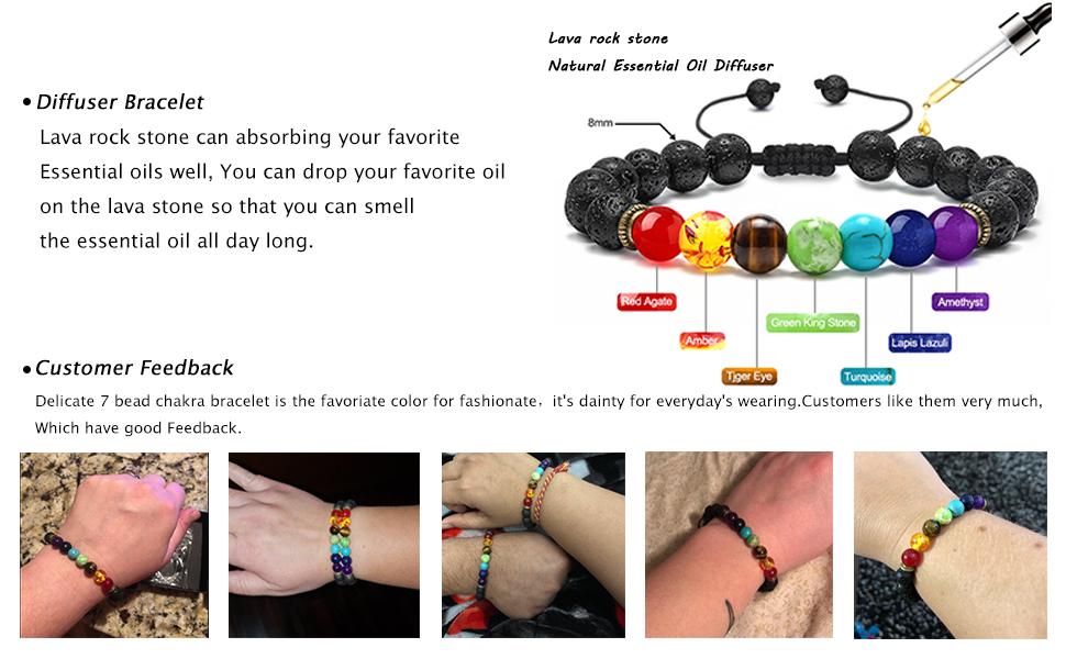 2 pcs Bracelet Diffuseur en Lave 7 Chakra Pierre Naturelle Oeil de Tigre Gu/érison Reiki Calme R/églable Bracelet de M/éditation au Yoga