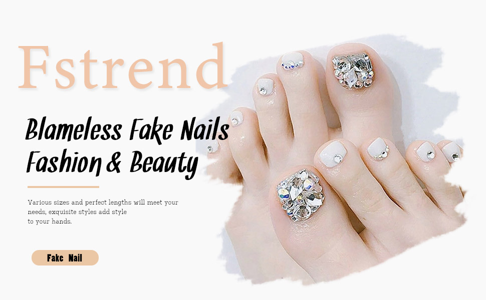 white toe fake nails