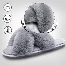 JIASUQI Womens Cross Band Slippers Soft Plush Furry Cozy Open Toe House Shoes Anti-Skid