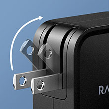 Foldable Plug Features a foldable plug for easy portability and storage.