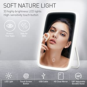 led lights makeup mirror