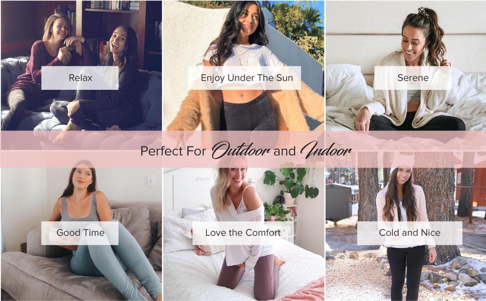 lifestyle images of velvety soft leggings