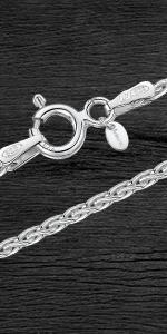 Collar - Fina Plata De Ley 925 - Cadena de Espiga - 1.7 mm