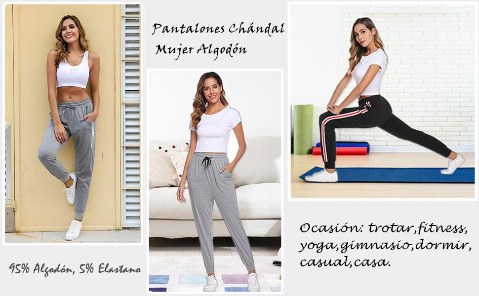 Pantalones Chándal Raya Mujer