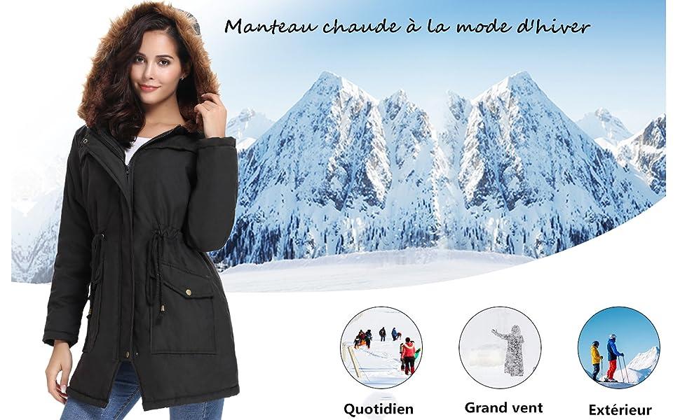 iClosam Manteau Chaud Doublé en Polaire de Coton d'hiver