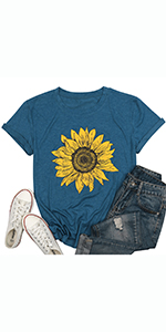 Sunflower Graphic Print Tee Shirts for Women Summer Graphic Tee Shirts Top