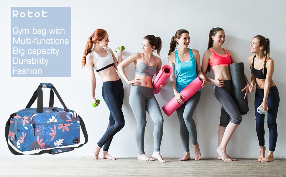 rotot floral blue gym bag