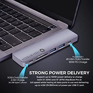 USB C Hub Type-C MacBook Pro Adapter 4K HDMI microSD/SD Thunderbolt Ethernet Mic/Audio Fast Charging