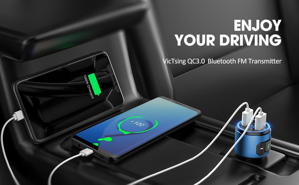 VicTsing Auto Bluetooth 5.0 FM Transmitter Radio Sender KFZ QC3.0 USB Ladegerät