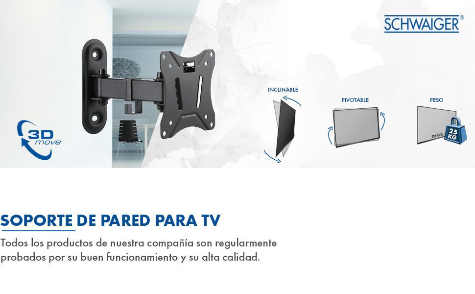 SCHWAIGER -9390 Soporte de pared para TV inclinable-giratorio para pantallas de 33-74 cm o (13-29 pulgadas)   LED 4K OLED   máx. 25 kg   distancia a la pared hasta 19,6 cm  