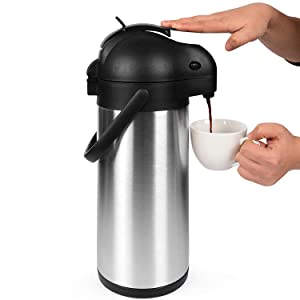 101 Oz (3L) Airpot Thermal Coffee Carafe/Lever Action/Stainless Steel Insulated Thermos (Airpot)