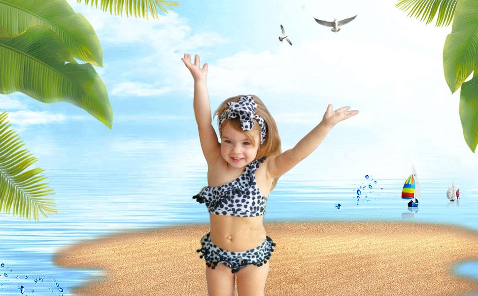 Danomikis Baby Girl Leopard 2-Piece Bikini Swimsuit Swimwear Bathing Suits Beachwear Tankini Sunsuit