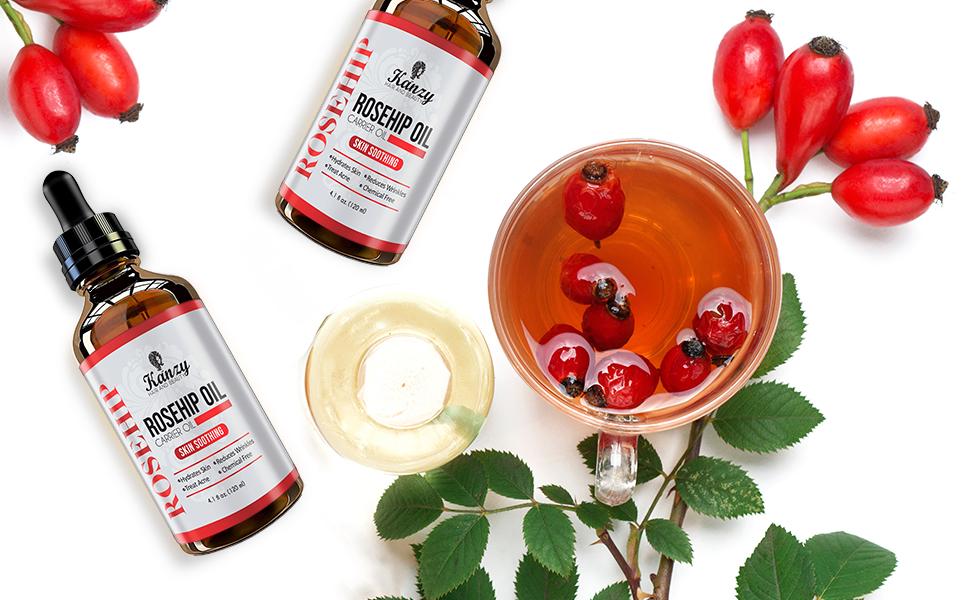 Kanzy Nyponolja för Ansikte 100% Ren Organisk Kallpressad Rosehip Seed Oil Fuktgivande Nyponfröolja