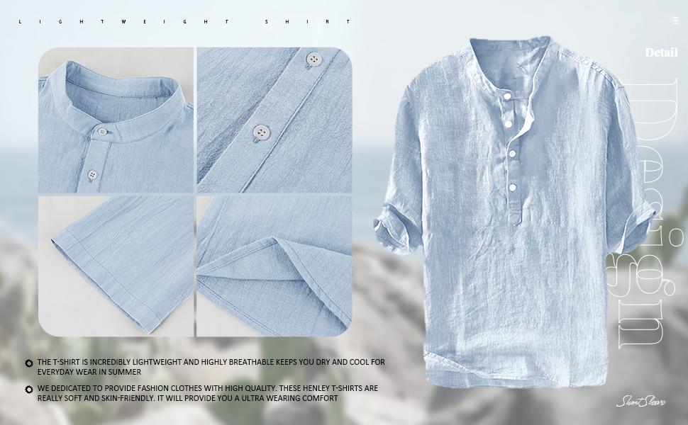 mens grandad shirts short sleeve blue shirts summer shirt for men button up shirt Tees