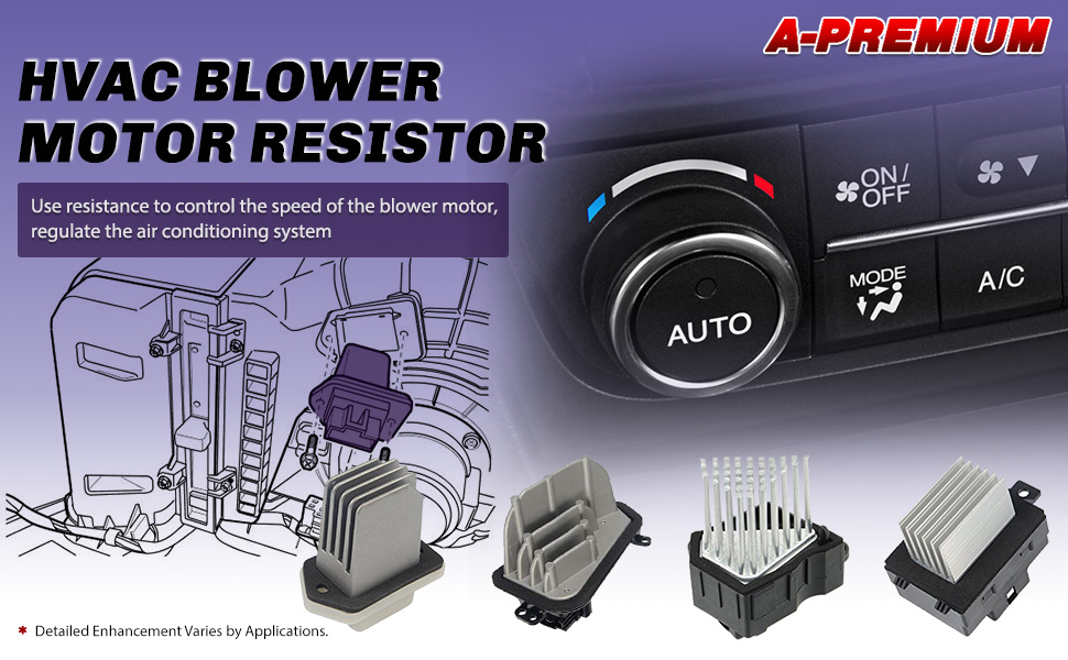 A-Premium HVAC A//C Blower Motor Resistor Replacement for Honda Odyssey 1999-2004 Accord 1998-2002 EX Submodel Only