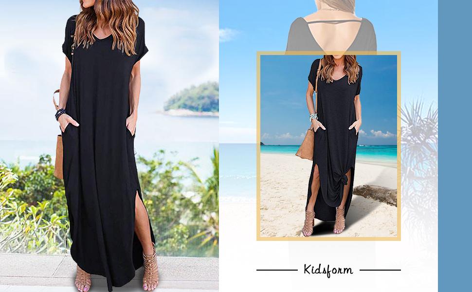 Kidsform Robe Longue Femme d/ét/é Bretelles Grande Taille Robe de Plage /à Rayures Fluide Casual Robe Maxi de Soir/ée Cocktail