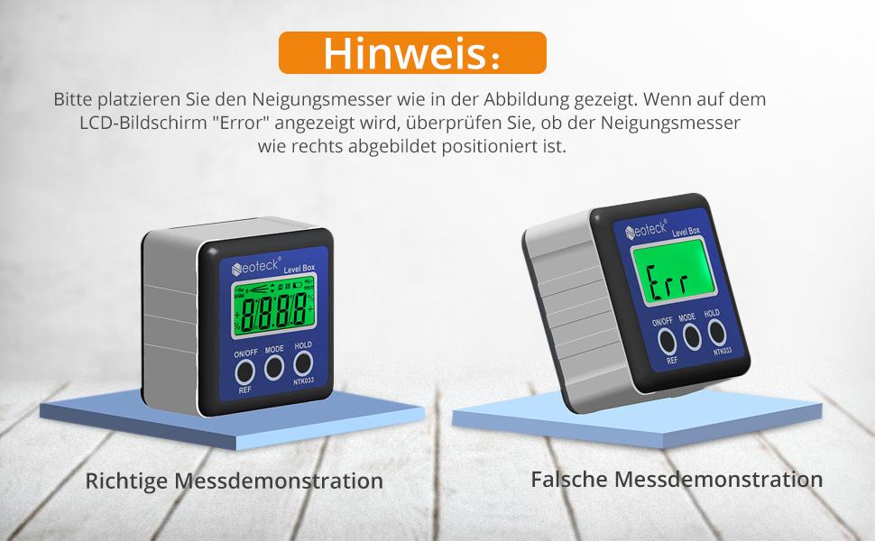 Orange Taste Multifunktion Neigungsmesser Wasserwaage Winkelmesser Inklinometer 0,05 /° Aufl/ösung /± 0,2 /° Genauigkeit und 0,1 /° Wiederholgenauigkeit