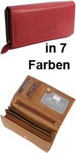 Monedero grande de piel para mujer con muchos compartimentos, color rojo, marrón, gris, negro y azul