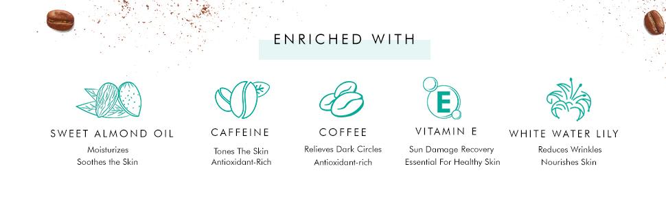 caffeine tones skin vitamine sun damage recovery white water lily wrinkles reduction sweet almondoil