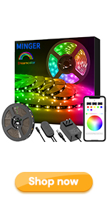 MINGER Dreamcolor Led light strip bluetooth phone app controlled for party home bedroom christmas