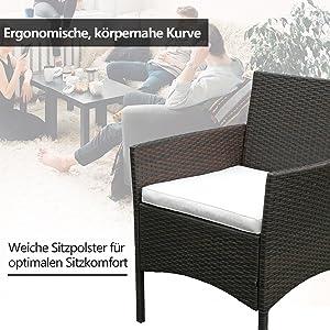 Gartenlounge Set, 7tlg Lounge Set in Rattanoptik mit Glastisch Sofa, Garnitur Sitzgruppe Gartenmöbel