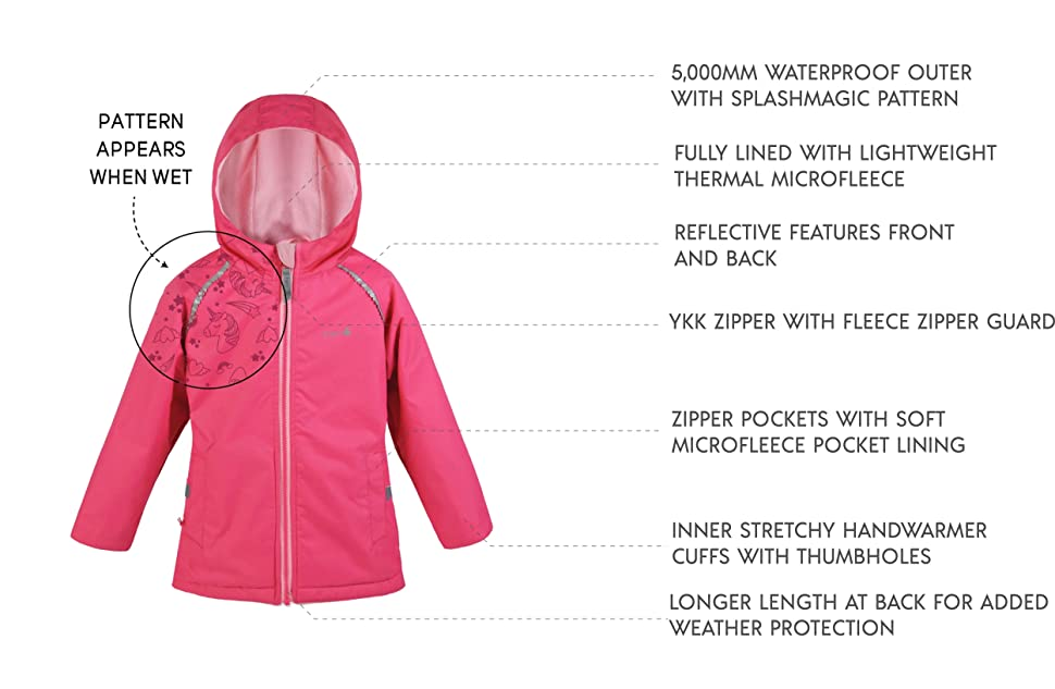Lightweight Eco Raincoat with Magic Pattern Fleece Lined Therm Girls Rain Jacket Toddler Kids Youth