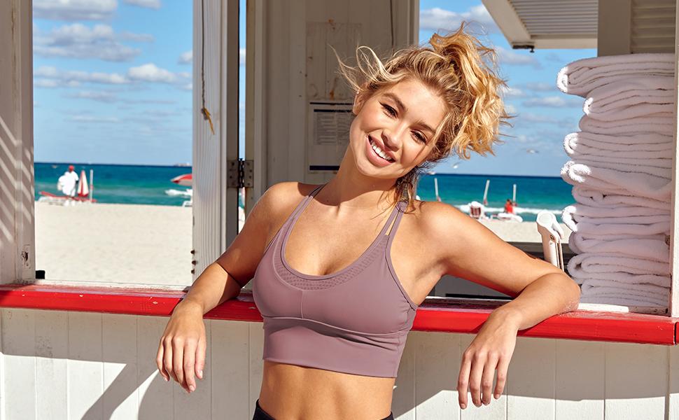 Women Crop Tops Sports Bras Mesh Longline Fitness Camisole Yoga Workout Running Gym Pad Shirt
