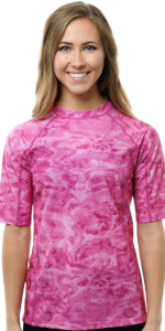 short sleeve rashguard gaurd rashie womrn swim shir sun protection sleeves camouflage shortsleevs